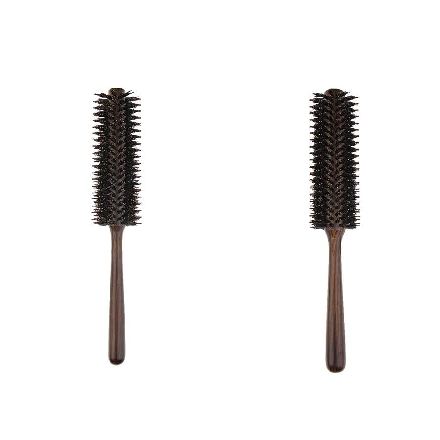 方法近々支配する2本 ヘアブラシ 木製櫛 ロールブラシ プロ 美容師用 自宅用