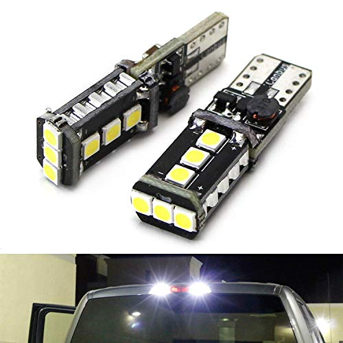 iJDMTOY (2) Xenon White High Power 9-SMD 906 912 920 921 T15 LED Replacement Bulbs Compatible With Truck 3rd/Third Brake Lamp Cargo Illumination Lights