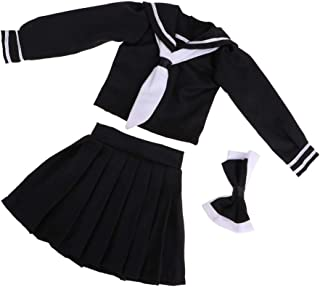 Fityle 1/3 BJD Dress Two-Piece Outfits College Style Uniform for Night Lolita Doll Black