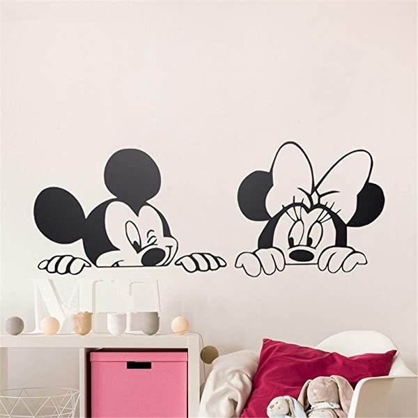 Wikaus Mickey Minnie Mouse Wall Art Decal Sticker Cartoon Mickey Minnie Mouse Vinyl Wall Stickers Removable Nursery Wall Art Free