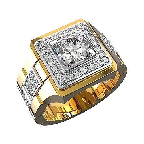 minjiSF Anello per orologio in oro, regalo creativo, vintage, elegante, anello con taglio di diamante, per San Valentino, gioielli quadrati in rame placcato argento (A, 6)