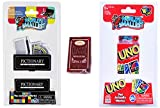 Worlds Smallest Classic Games - Pictionary - Uno Card Pack - Miniature Playing Cards - Bundle Set of 3 Items