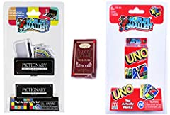 Includes: World's Smallest Pictionary, UNO Card game, and a deck of Classic Miniature Playing Cards Pictionary Includes 25 category cards, 1 game board, 1 timer, 1 paper pad, 2 pencils, 1 dice, 4 game tokens, and 1 case. All pieces fit inside the box...