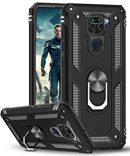 LeYi Funda Xiaomi Redmi Note 9,Armor Carcasa con 360 Grados Anillo iman Soporte Hard PC Silicona TPU Bumper Antigolpes Case para Movil Note 9,Negro