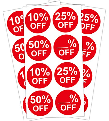 Percent Off Stickers Red 10% 25% 50% Blank Percent Off - 1.5 Inch Sale Price Stickers Labels - 520 Garage Yard Retail Deals Pricemarker