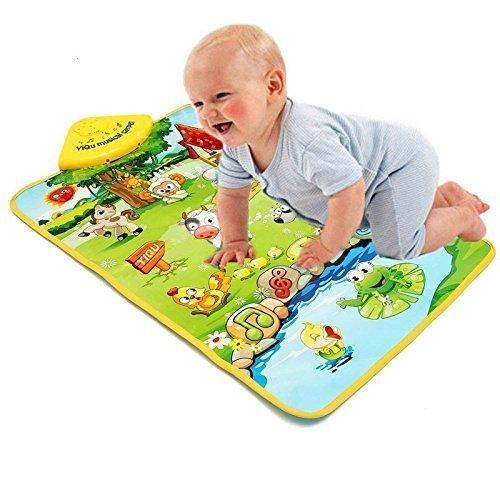 Premium Erlebnisdecke Bauernhof mit Musik & Licht - interaktive Spielmatte Babydecke Krabbeldecke Spieldecke Krabbelmatte Lernmatte Erlebnismatte