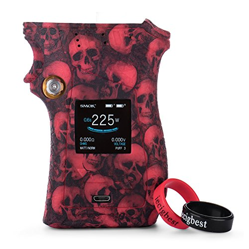 Smok Mag Kit Silicone Case Cover Shield Wrap Skin for Right-handed SMOK Mag 225W Mod (Skull Red)