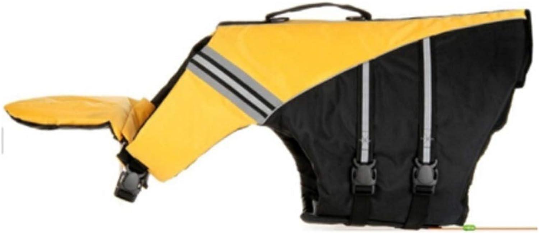 Dog Life Jacket, Large, Medium and Small Dog Swimming Equipment, Pet Clothing (color   Yellow, Size   XS)