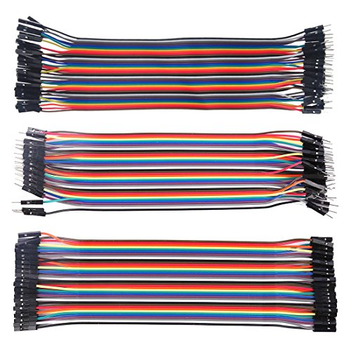FenglinTech 120pcs 12inch Dupont Wire 40pin Male to Female, 40pin Male to Male, 40pin Female to Female Breadboard Jumper Wires Ribbon Cables Kit for Arduino