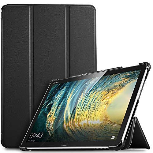 IVSO Hülle für Huawei MediaPad M5 Lite 10, Ultra Schlank Slim Schutzhülle Hochwertiges PU mit Standfunktion Perfekt Geeignet für Huawei MediaPad M5 Lite 10 10.1 Zoll 2018 Modell, Schwarz