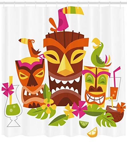 123456789 Luau douchegordijn Tiki Maskers Drinks Vogels Print voor Badkamer