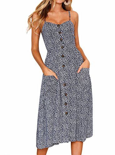 FASTYLING Vestido de Verano Retro con Cuello en V de una línea sin Mangas con Botones en la Espalda Vestido de Playa con Girasol Vestido de Tirantes