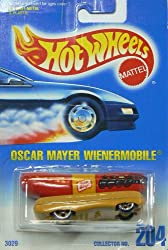 Image: Hot Wheels Oscar Mayer Wienermobile #204 with 5 Dot Wheels on Blue to White Card | die cast collectible | Officially licensed