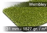 Snapstyle Wembley - Alfombra césped Artificial de Lujo - para Jardín, Terraza, Balcón - Verde - 13 tamaños