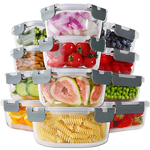 Bayco 24 Piece Glass Food Storage Containers with Lids, Glass Meal Prep Containers, Airtight Glass Lunch Bento Boxes, BPA Free & Leak Proof (12 lids & 12 Containers) - Grey