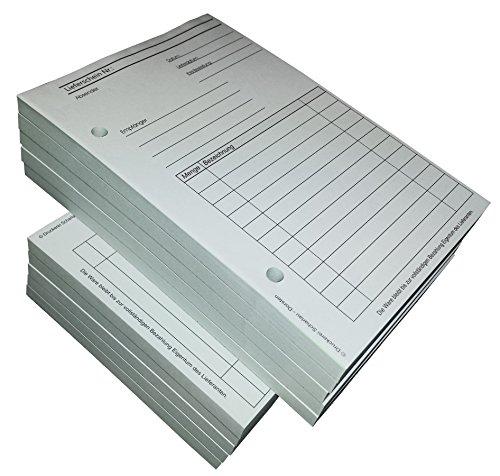 10x Lieferscheinblock Block Lieferschein DIN A6, 2-fach selbstdurchschreibend,2x50 Blatt weiß/grün - gelocht (22420)