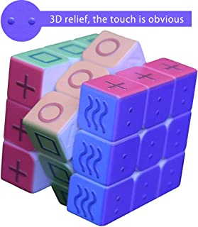 PLAFUETO 3D Magic Cube Puzzle Toy Speed Cube for The Blinds Person or Partially Sighted Color Weakness, Easy Turning and Smooth Puzzle Game 2.2