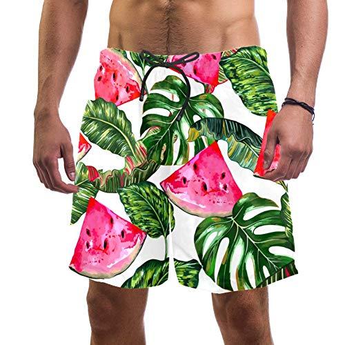 Eslifey Tropical Sandías Jungle Hojas Monstera Patrón Floral Bañador Trunks Elástico Bañador de Playa Pantalones Cortos para Hombre, L multicolor S