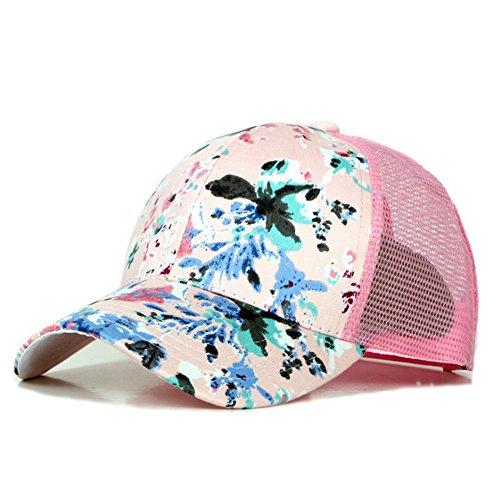 Dylandy Sportmütze Mesh Baseball Cap verstellbar Snapback Hat Bedruckt Dad Hat Trucker Cap Atmungsaktiv Casual Sonnenhut Blumen für Frauen, rose, m