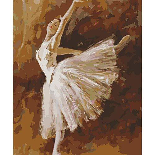 VFDGB 60X75Cm Schilderen op nummer Diy Stage Ballerina Figuur Wall Art Foto Acryl schilderij Decoratie