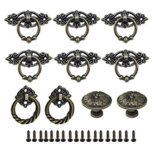 Aweisile Retro låda draghandtag 10 st draghandtag knopp antik låda handtag låda handtag skåpknappar brons med skruvar för skåp antik låda byrå retro möbler etc
