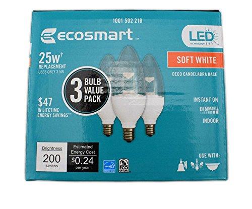 EcoSmart 25-Watt Equivalent B11 Dimmable Clear Blunt Tip Decorative Candelabra LED Light Bulb, Soft White (3-Pack)