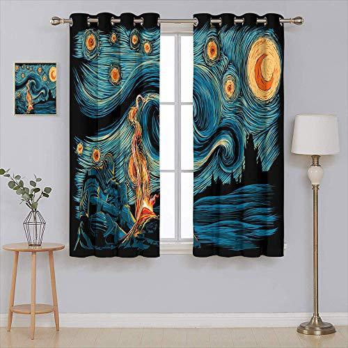 Cortina opaca de noche estrellada Dark Souls para ventana de 100 x 172 cm