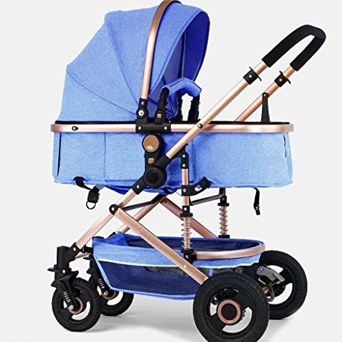 Find Cheap GPWDSN Stroller Pushchair, Baby Cart High Landscape Light Can Sit and Lie Down Fold Suspension Four Rounds Carriage Trolley Baby Cot (Color: Khaki)