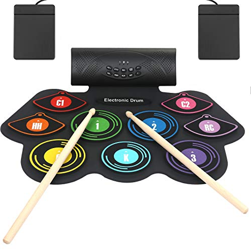Anpro Electronic Drum Set Foldable Built-in Speaker,9 Pads Stereo...