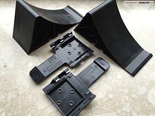 Komplett-Set: Unterlegkeile incl. Halter 2 Stück schwarz - 1600 kg - Bremskeil Anhänger Keile bis 1.6t