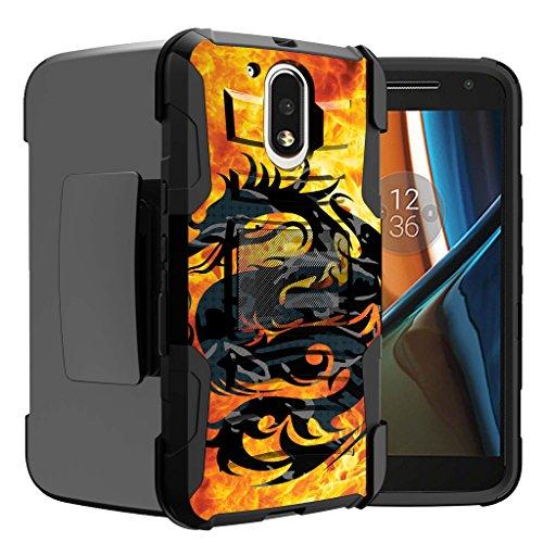 Untouchble Case for Moto G4  Moto G4 Plus Case   Motorola Moto G (4th Gen) Dragon Case [Heavy Duty Clip]- Shockproof Swivel Holster Case with Built in Kickstand - Red Fire Dragon