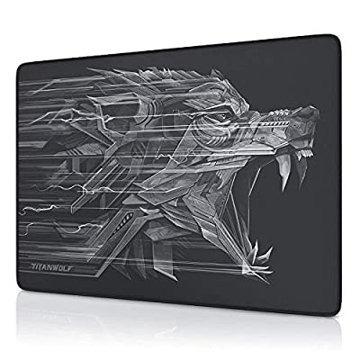 Titanwolf - Mouse Pad - Mouse Mat 250 x 350 x 3 mm - improves precision and speed - rubber underside for a stable grip - gaming and office mouse pad for laptops, computers and PCs