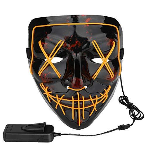 Poptrend Halloween Mask LED Light up Masks for Festival Cosplay Halloween Costume Masquerade Parties,Carnival,Gifts