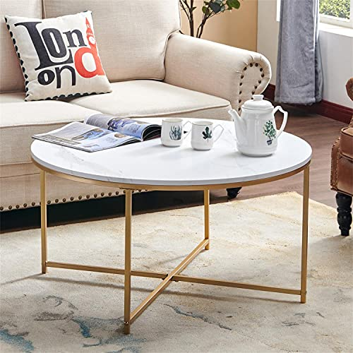 Round Coffee Table, Modern Dining Table with Faux Marble Surface Top & Gold Metal Legs, Accent Outdoor Garden Table, Sofa Table for Living Room, Dining Room, Home Office