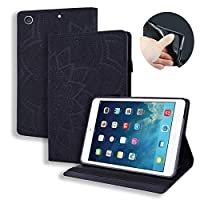 ProCase カーフレザー型押しレザーケースiPad Air 3 (2019) 用 タブレットカバー Apple iPad 10.5インチ iPad Air 2019ケースフリップ スタンドシェルカバー (ブラック)
