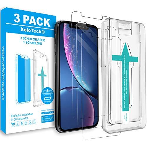 XeloTech 3X Premium Schutzglas kompatibel mit iPhone 11 & Xr - Panzerglasfolie mit Schablone für perfekte Positionierung - 9H Glas