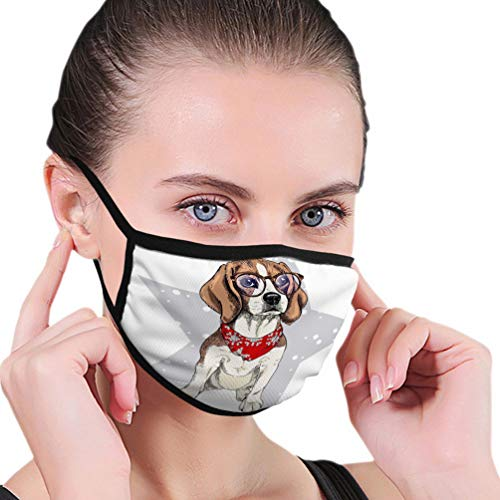 Unisex Multifunctional Soft Breathable Face Shield portrait beagle dog wearing winter bandana glasses isolated star snow skecthed color illustraion christmas xmas Stars Outdoor Cover