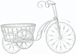 Koehler 10018026 20.75 inch White Bicycle Planter Garden Decor