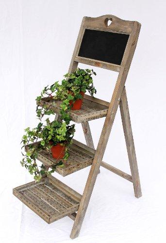 DanDiBo Echelles à Fleurs en Bois 12061 avec Tableau Noir Hauteur 110cm Porte Fleurs Echelle à Fleurs