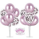 Balloon - Soporte de mesa transparente,Globos Claros Soporte Holder con 16 Globos,para globos de fiesta de cumpleaños y decoración de boda (Rosado)