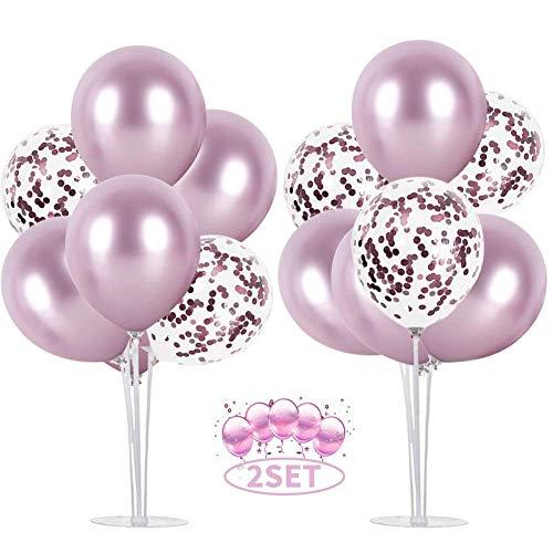 Balloon - Soporte de mesa transparente,Globos Claros Soporte Holder con 16 Globos,para globos de fiesta de cumpleaños y decoración de boda (Rosado) ✅