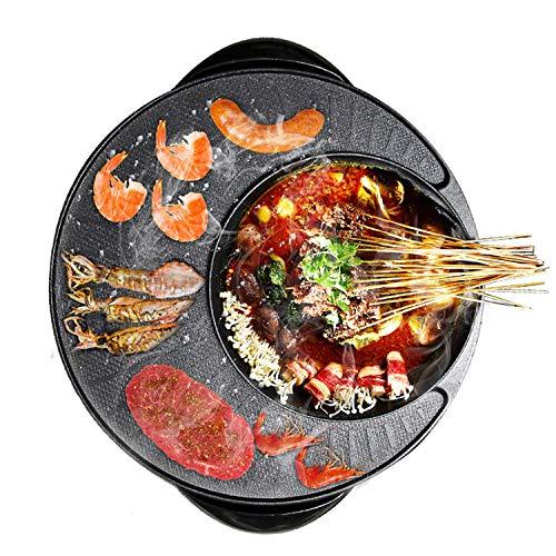 Elektrische Barbecue Pot, draagbare Barbecue Grill, met glazen afdekplaat, for 2-12 personen, 220V, 1200W-1500W LMMS