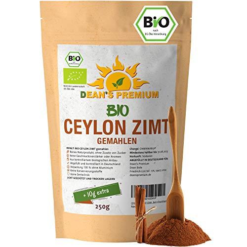 CEYLON ZIMT BIO GEMAHLEN 250g - 100% echter ZIMT CEYLON BIO - Vegan - ohne Zuckerzusatz - arm an Cumarin - Verpackung 100% ohne Aluminium - abgefüllt in Deutschland