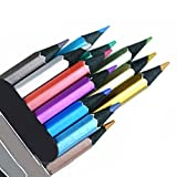 12 Count Metallic Colored Pencils Assorted Coloring Pencil Set Wooden Drawing Pencils For Art Drawing Adult Coloring Book