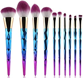 MAYCREATE® Premium Foundation Blending Blush Concealer Eye Face Lip Brushes for Powder Liquid Cream Complete Makeup Brush Kit/Set with Synthetic Bristles -10 Pieces