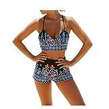 GWELL Maillot de Bain Femme 2 Pièce Bikini Taille Haute Shorty Push Up Imprimer...