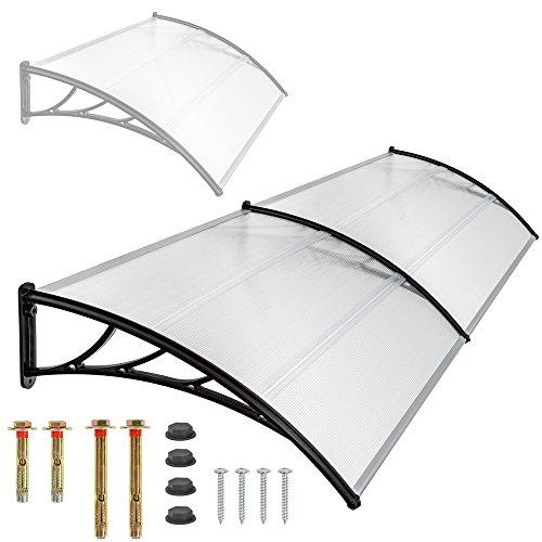 TecTake Pensilina tettoia in policarbonato per porta o finestra per esterno - disponibili in diverse misure - (200x93cm)