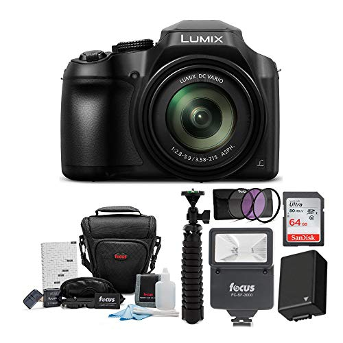Panasonic LUMIX FZ80 4K Long Zoom (18.1MP, 60X Zoom) with 64GB Card Bundle