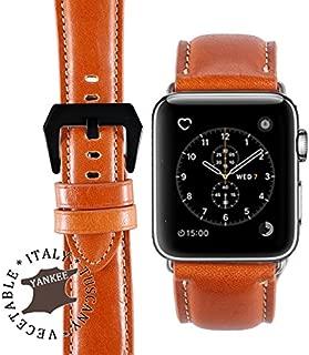 BORAZI Series Premium Italian Yankee Leather Watch Strap for Apple Watch Series 1, 2, 3 & 4 (Honey Brown - Black Buckle 42mm)