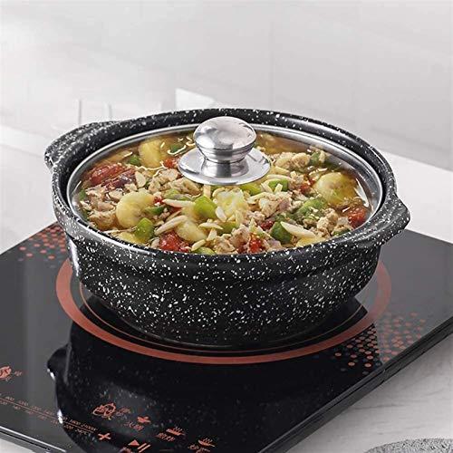 Platos de cazuela con tapa Potilla de sopa de sopa antiadherente Piedra de maifan resistente al calor de cerámica con tapa de vidrio Pote caliente para cocinar lento BIBIMBAP olla de cazuela